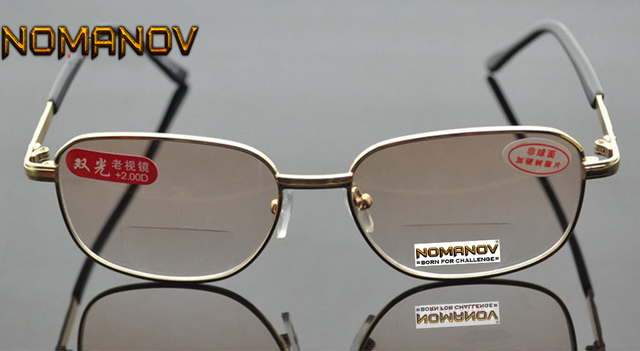 4616581724f See Near Far Bifocal Reading Glasses Men Women Gold Frame Clear   Brown Lens  Spectacles +