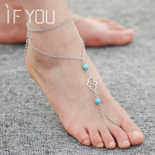 IF YOU Summer Ankle Bracelet Bohemian Foot Jewelry Artificial Stone Beads Boho Anklets for Women barefoot sandals Foot Bracelet