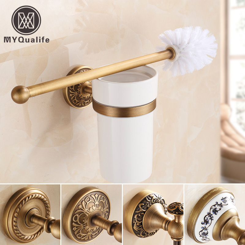European Style Brass Ceramic Toilet Brush Holder Antique Toilet brush Bathroom Products Bathroom Accessories useful antique brush toilet brush holder luxury carved solid brass toilet cleaning holder ceramic cup bathroom accessories