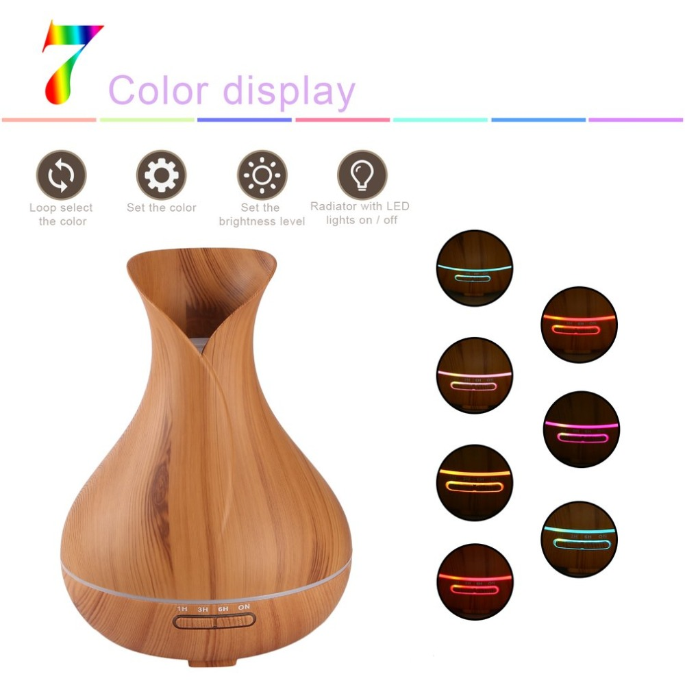 400ml Ultrasonic Aroma Diffuser Mist Maker Compact Air Humidifier for Household Use Great Home Decor with LED Colorful Light цена 2017