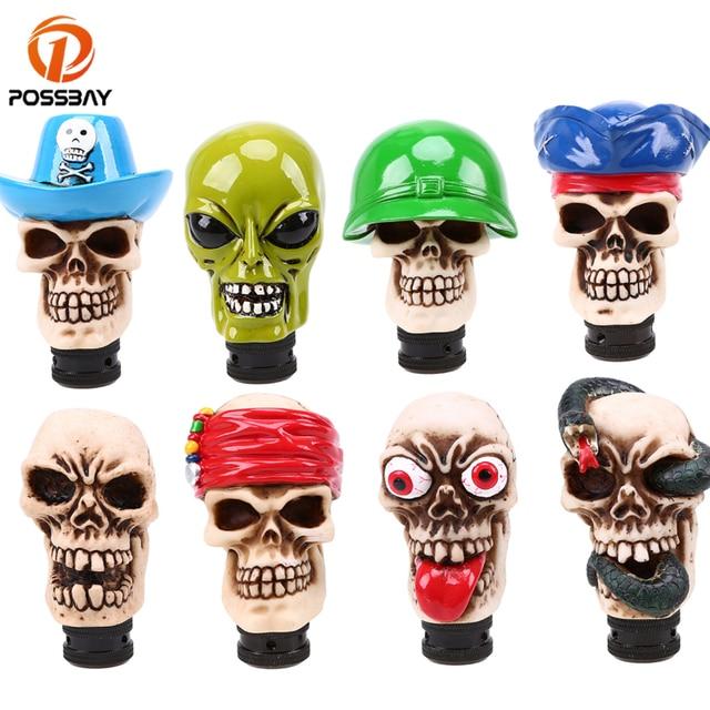 POSSBAY Universal Manual Car Gear Stick Skull Head Shift Lever Knob Skull Shift Knob Truck Gear Knob Interior Accessories