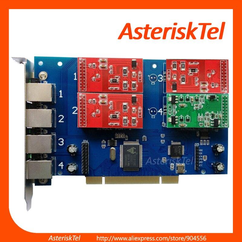 bilder für TDM410P stern-karte mit 4 FXS/FXO Module, Analog FXO FXS board Unterstützt Asterisk FreePbx digium pci für voip telefone tk-anlage