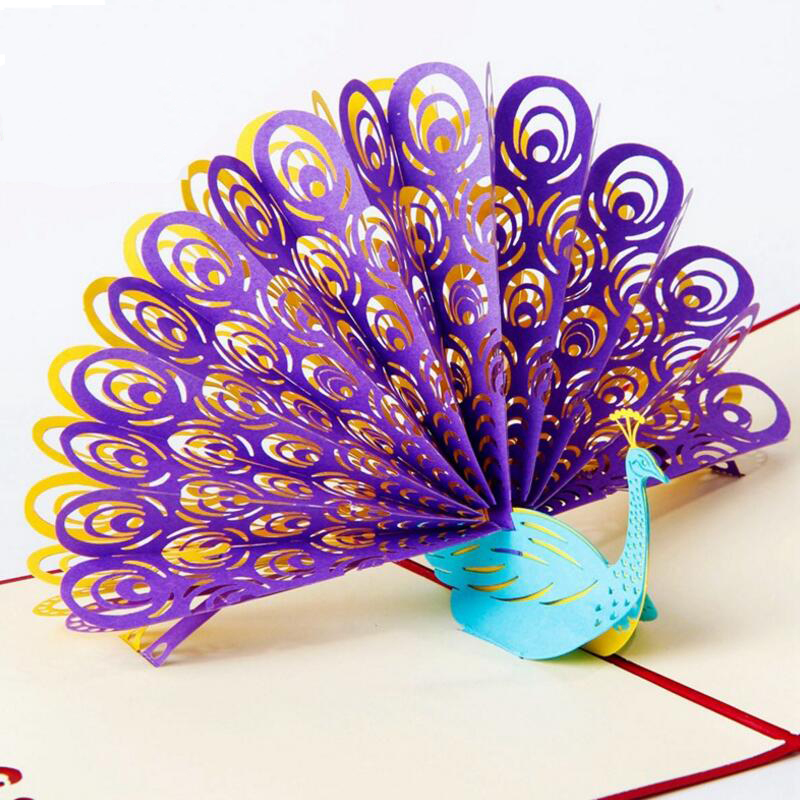 3D Peacock Greeting Pop Up Card Birthday Easter Anniversary Mothers Day Thanks Greeting Card Postcard 3pcs/lot house party pop up greeting card house warming invite pop up birthday card 3d birthday