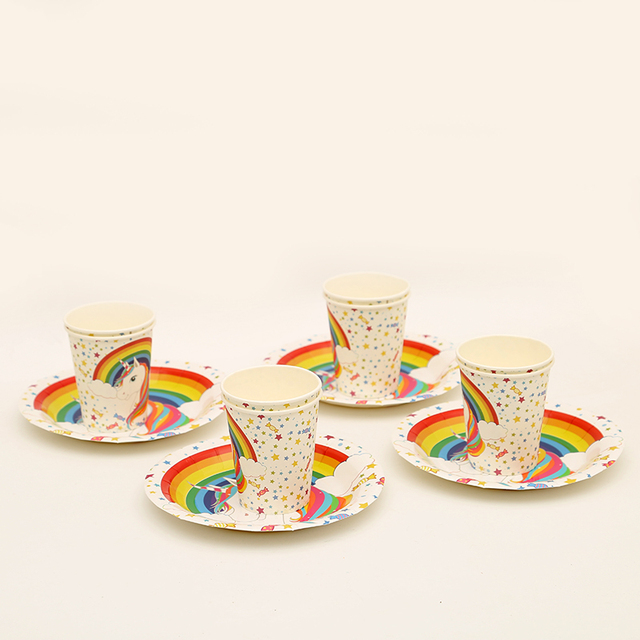 24pcs Lot Unicorn Dishes Plates Cups 12 People Use Party Supplies Wedding