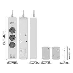Image 5 - ORICO Electronic Socket Power Strip Socket 3AC 5 AC Outlet With 2 USB Port Smart EU Plug Extension Socket for Home Commercial