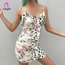 Adogirl Polka Dot Dress 2019 Girls Sweet Floral Print Lace Stitching Spaghetti Strap Women Festival Ruched Ruffles Dresses