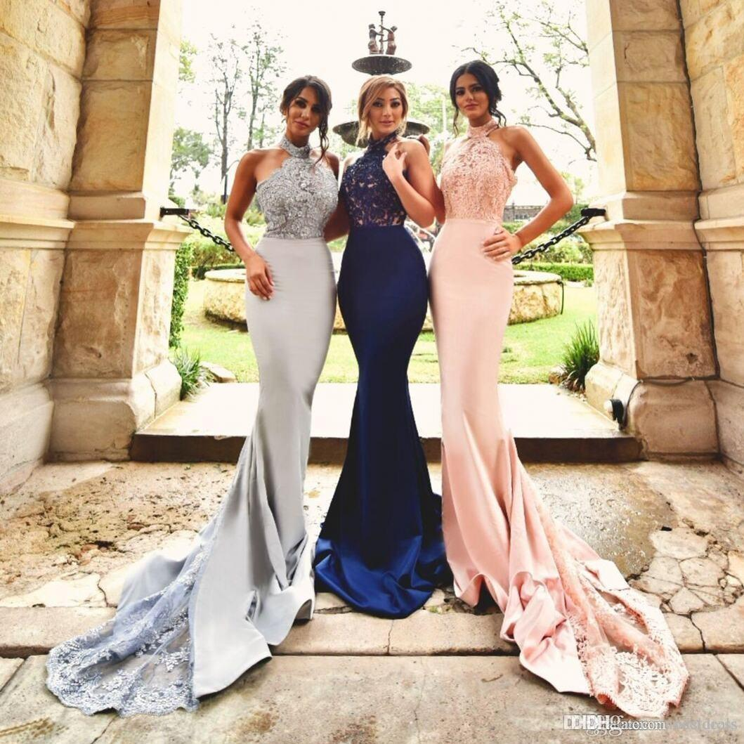 2017 New Silver Blush Lace Mermaid Bridesmaid Dresses Halter Long