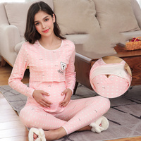 Maternity and Nursing Set Pregnant Pajamas Postpartum Nightwear Premama Cotton Tops&pants Long Sleeve Top&pants Spring Clothing