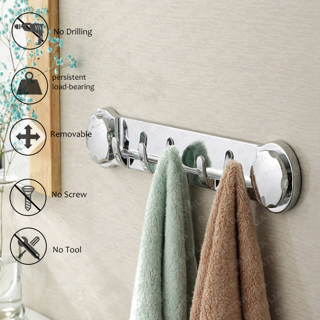 Bon Multi Function Plastic Suction Hook Bathroom Adhesive Wall Hanger Removable  Towel Holder