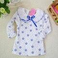 Apuramento moda blusas florais meninas crianças rendas de algodão pescoço manga longa venda kt-1506 clothing para camisa da menina das crianças