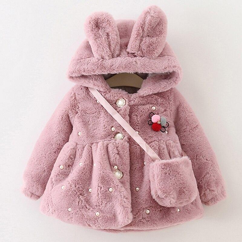 Пальто для девочки Bear Leader с сумкой утепленное с капюшоном и заячьими ушками