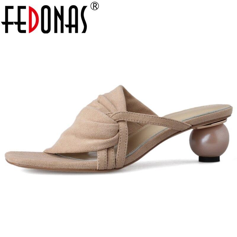 Actief Fedonas Classic Brand Design Vrouwen Sandalen Zomer Mode Elegant Rome Hoge Hakken Nieuwe Kid Suede Schoenen Vrouw Wedding Party Schoenen