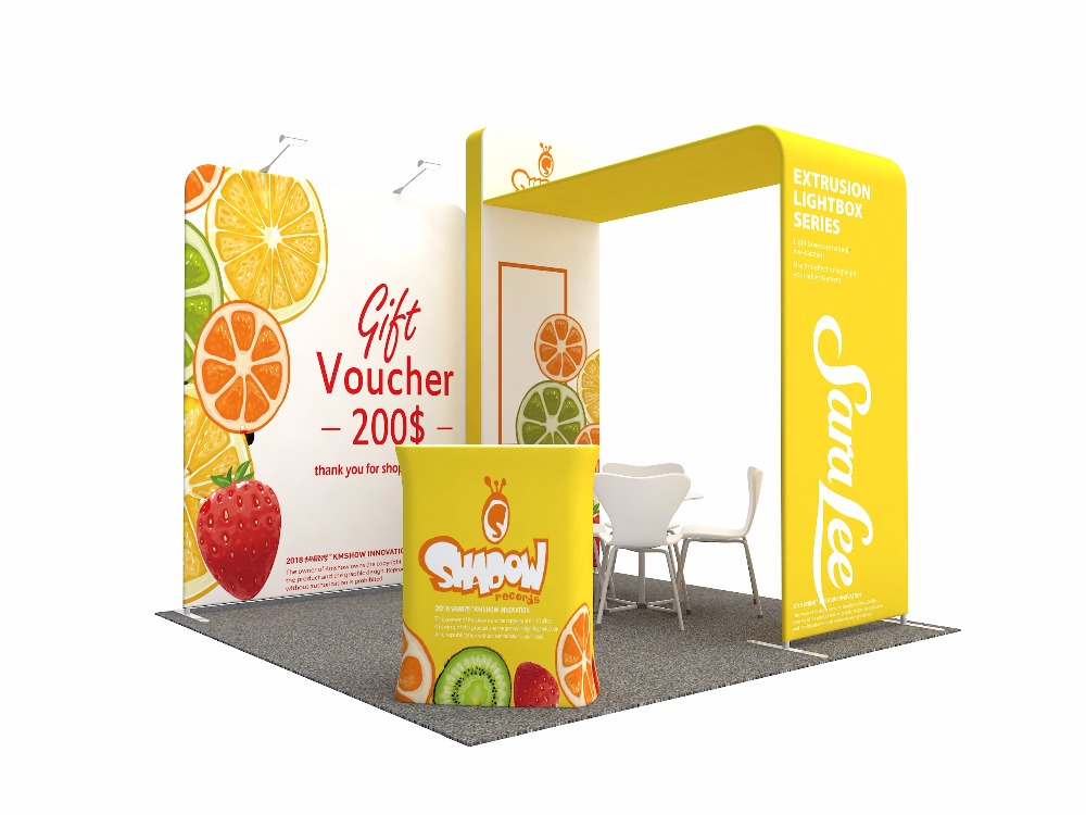 Us 1099 9 Portable 10ft Curved Fabric Trade Show Display Pop Up Booth With Tv Mount Product Shelf Exhibits In Flags Banners Accessories From Home