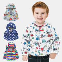 Cute Dinosaur Spring Children Coat Autumn Kids Jacket Boys Outerwear Coats Active Boy Windbreaker Baby Clothes Clothing 80-120cm недорого