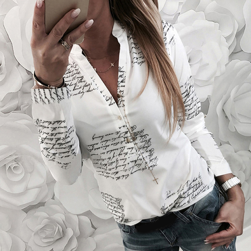 Women Chiffon   Blouse     Shirt   2019 Female Clothing Long Sleeve Blusas Chiffon Women's Office   Blouses   Print Lady OL Top
