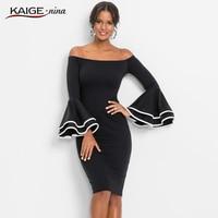 KaigeNina New Fashion Hot Sale Women Solid Natural Simple Printing Cloth Slash Neck Mid Calf Lace