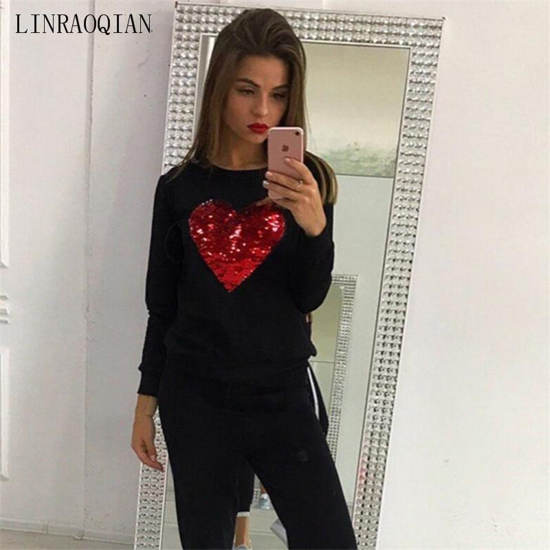LINRAOQIAN Fashion Red Heart Sequin Top T Shirt Women Tops Autumn Winter Long  Sleeve Tshirt Women Cotton O-Neck Tee Shirt Femme 5a8c6afc0d33