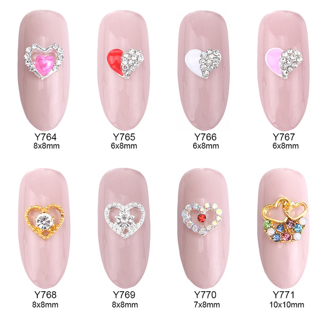 10pcs elegant nail designs hearts glitters deco ongle nail art ...
