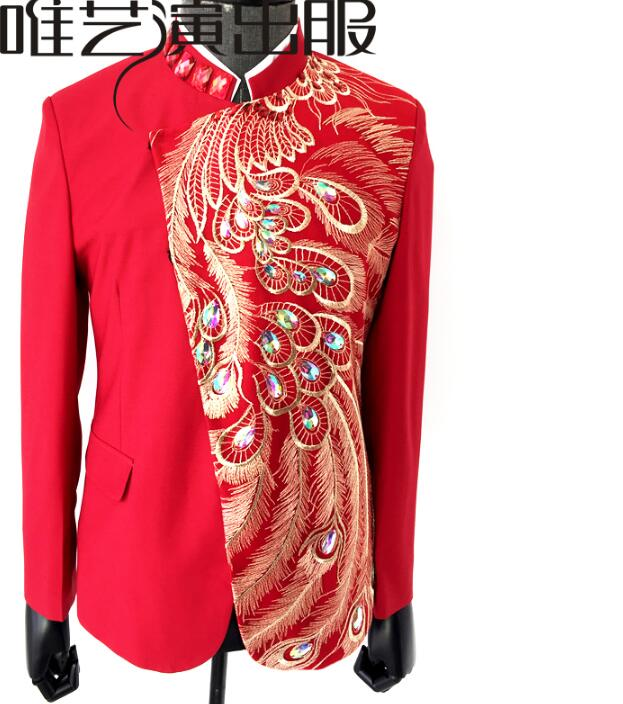 Phoenix Tail Sequin Suits Mens Designs Masculino Homme Terno Stage Costumes For Singers Men Blazer Dance Clothes Jacket Red