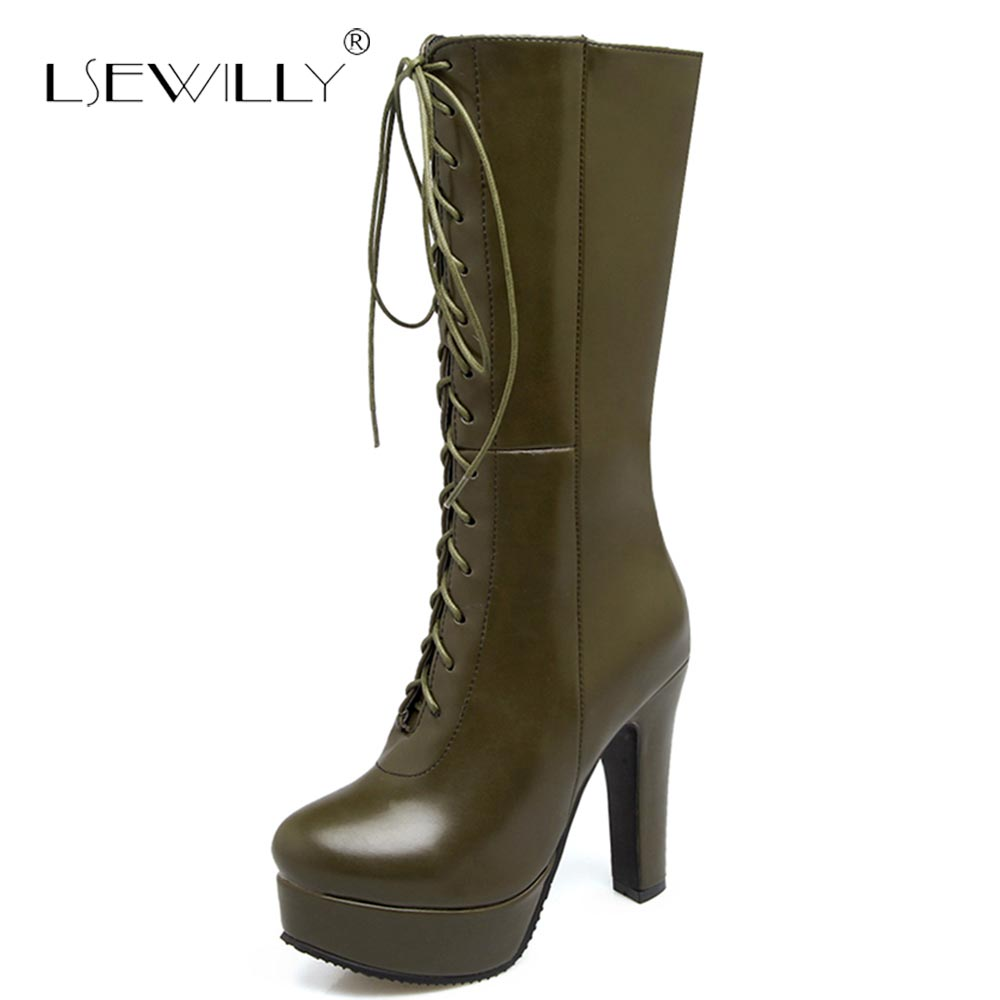 Lsewilly 2018 Winter Boots Fashion Women Shoes Platform High Heels Lace Up Female Boots Woman Footwear