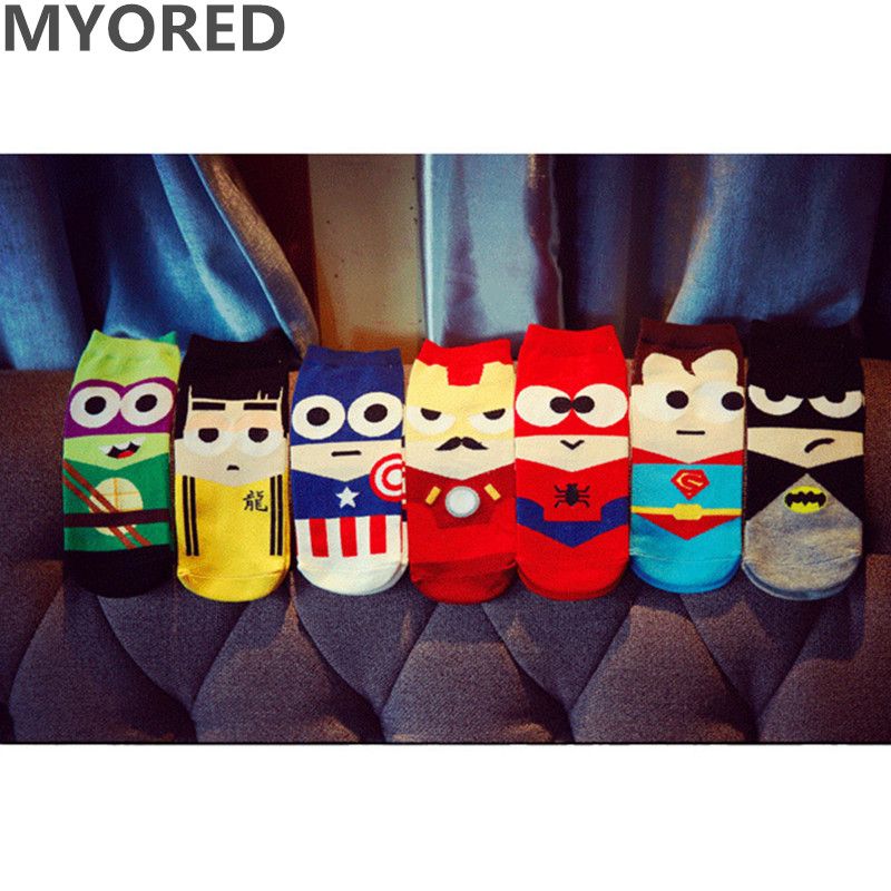 MYORED 7pairs=1 Lot Superheroes Superman Batman  American Cotton Sock Slippers Invisible Sock Ankle Socks