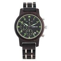Men's Watch Quartz Wooden Watch Luminous Function Six pin Chronograph Dial Watch Fashion Calendar Wooden Wristwatch