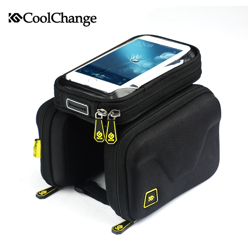 CoolChange Bike Bag  6.2 Inch Touch Screen Bicycle Bag Front Frame Top Cell Phone TPU Cycling Bag Double Pouch MTB Accessory 19 inch infrared multi touch screen overlay kit 2 points 19 ir touch frame