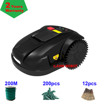 Robot Grass Mower Automatic Grass Cutting Machine E1800S with 2.2ah Lithium For Small Lawn 200m wire+200pcs pegs+12pcs Blade