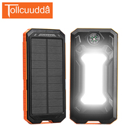 Tollcuudda Solar Power Bank 10000mAh Compass External Battery Portable Charger Flashlight PoverBank For Iphone5 6 S