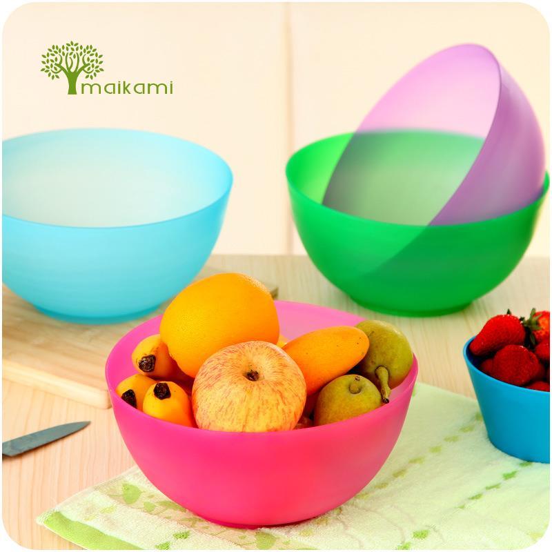 2pcs Food Grade Plastic font b Salad b font Bowl Fruits And Vegetables Plastic Mixing Bowl