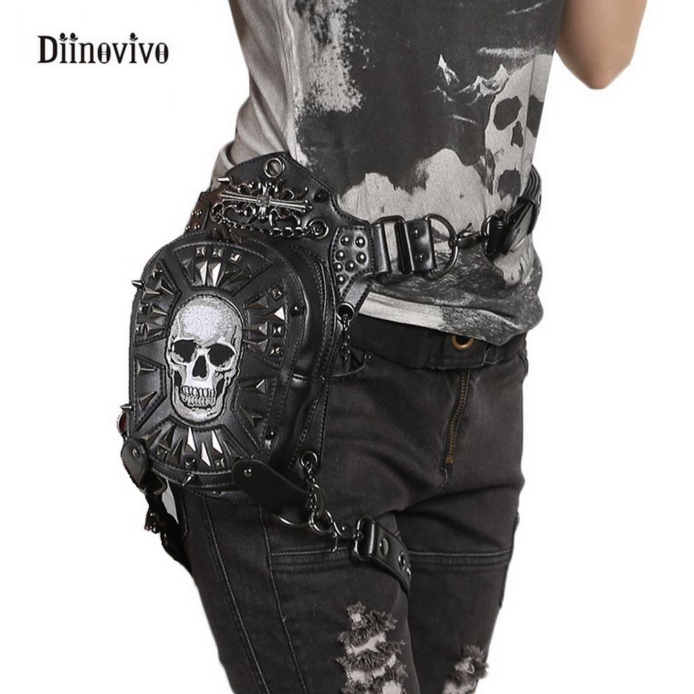 DIINOVIVO Fashion Motorcycle Women Messenger Bag Gothic Steampunk Retro Rock Crossbody Bag Rivet Skull Waist Leg Bags WHDV0114 цены