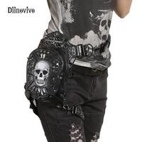 DIINOVIVO Fashion Motorcycle Women Messenger Bag Gothic Steampunk Retro Rock Crossbody Bag Rivet Skull Waist Leg Bags WHDV0114