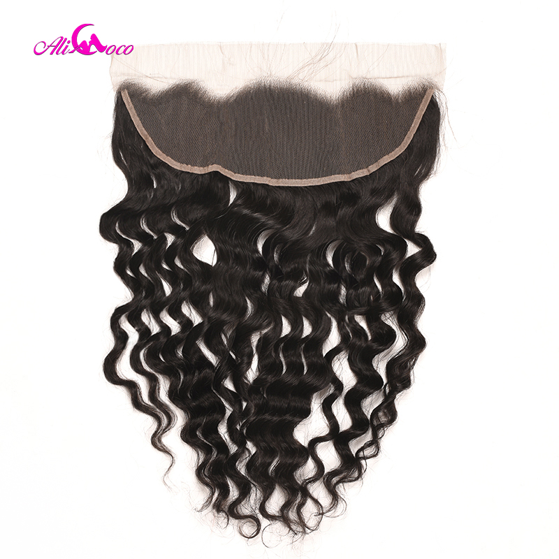 Ali Coco Brazilian Loose Deep Wave Frontal 8-20 Inch 13X4 Ear To Ear Lace Frontal Natural Color 100% Remy Human Hair Frontal