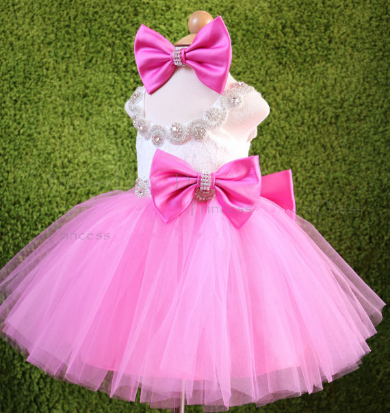 Fresh pink and white flower girl dresses knee-length crystals rhinestones princess Pageant Dress with bow 1st birthday outfit cvco55cc 2280 2380 crystals and oscillators mr li
