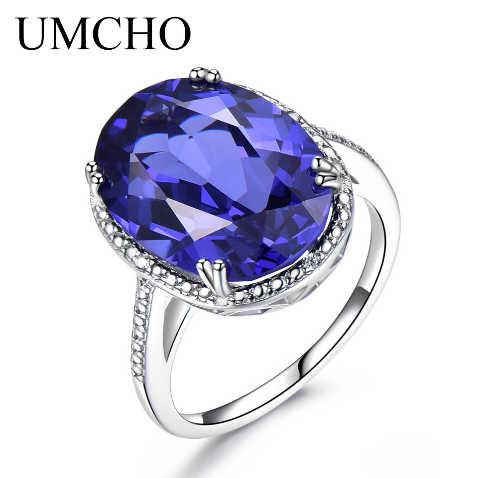UMCHO Luxury Tanzanite Rings For Women Solid 925 Sterling Silver Jewelry Female Engagement Ring SetsChristmas Gift With Box New umcho luxury tanzanite rings for women solid 925 sterling silver gemstone engagement ring sets christmas jewelry gift with box