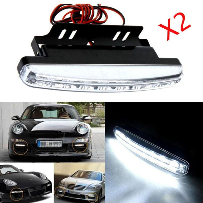 kongyide Healight Bulbs 2pc 8LED Daytime Driving Running Light DRL Car Fog Lamp Waterproof White DC 12V NOV10