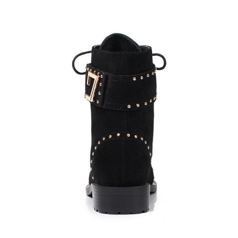 Invierno Hebilla De Tamaño Remaches Metal Genuino 39 Zapatos Cuero Lebaluka Planos Negro Mujeres 34 Moda Señoras Las Botas Onwq0pt