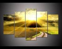 גדול 5 לוח HD ציור מודפס נתיב אור זריחת שלווה שמיים בד הדפסה וול אמנות עיצוב בית תמונה לסלון F0154