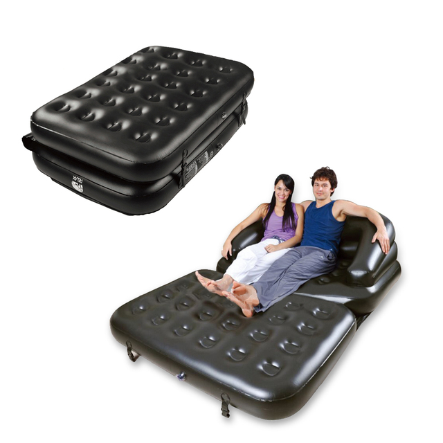Black Inflatable Daybed Lounger Airbed Pull Out Sofa Couch Full Double Air Bed Mattress