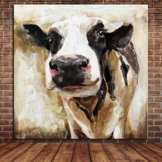 Efecto retro vacas pintura al leo animal lindo arte de la - Cuadros de vacas ...