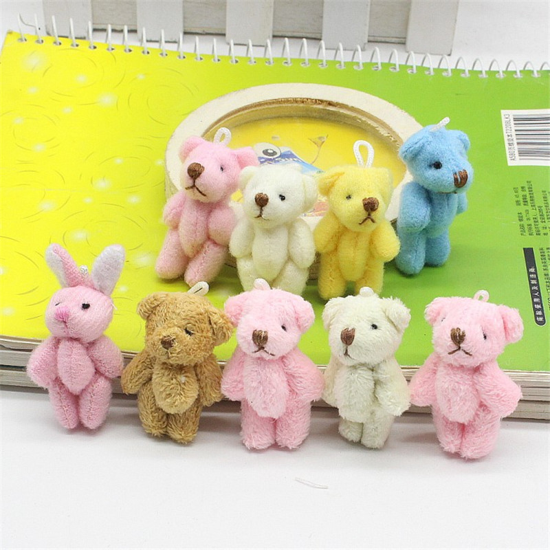 10pc 3.5cm Mini Joint Teddy Bear Plush Stuffed Wedding BOX Toy Doll Garment & Hair Accessories Decor Doll