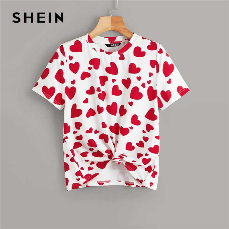 SHEIN Повседневная разноцветная футболка с принтом сердца, летняя женская футболка, 2019, круглый вырез, эластичная Базовая Милая футболка, топы