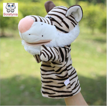 Children Hand Puppet kids doll baby infant plush Stuffed Toy Mouth big tiger stripes Puppets toys Christmas birthday gift