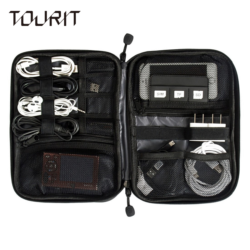 TOURIT New Electronic Accessories Travel Bag Nylon Mens Travel Organizer For Date Line SD Card USB Cable Digital Device Bag