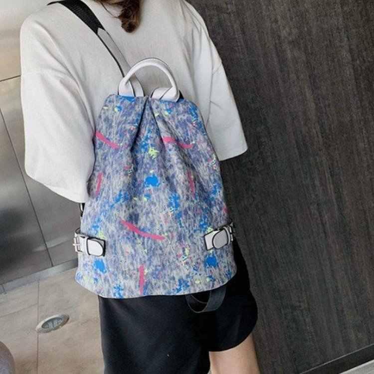 Повседневный маленький синий джинсовый рюкзак с крышкой, высококачественные женские повседневные Рюкзаки для путешествий, 2 цвета, Повседневная джинсовая сумка