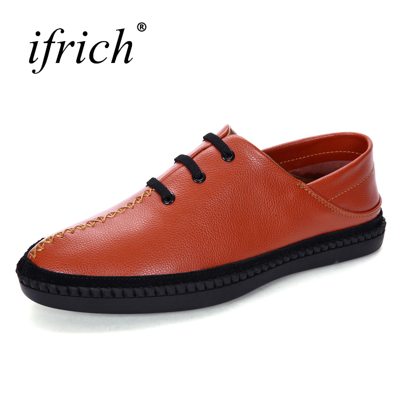 Ifrich New Genuine Leather Branded Casual Shoes For Men Comfortable Man Flat Cow Leathers Shoes Slip on Man Casual Loafers top brand high quality genuine leather casual men shoes cow suede comfortable loafers soft breathable shoes men flats warm