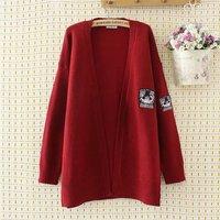 Plus size knitted wool women dark red & dark blue Cardigan jacket 2019 Embroidered autumn ladies sweater female knitwear coat