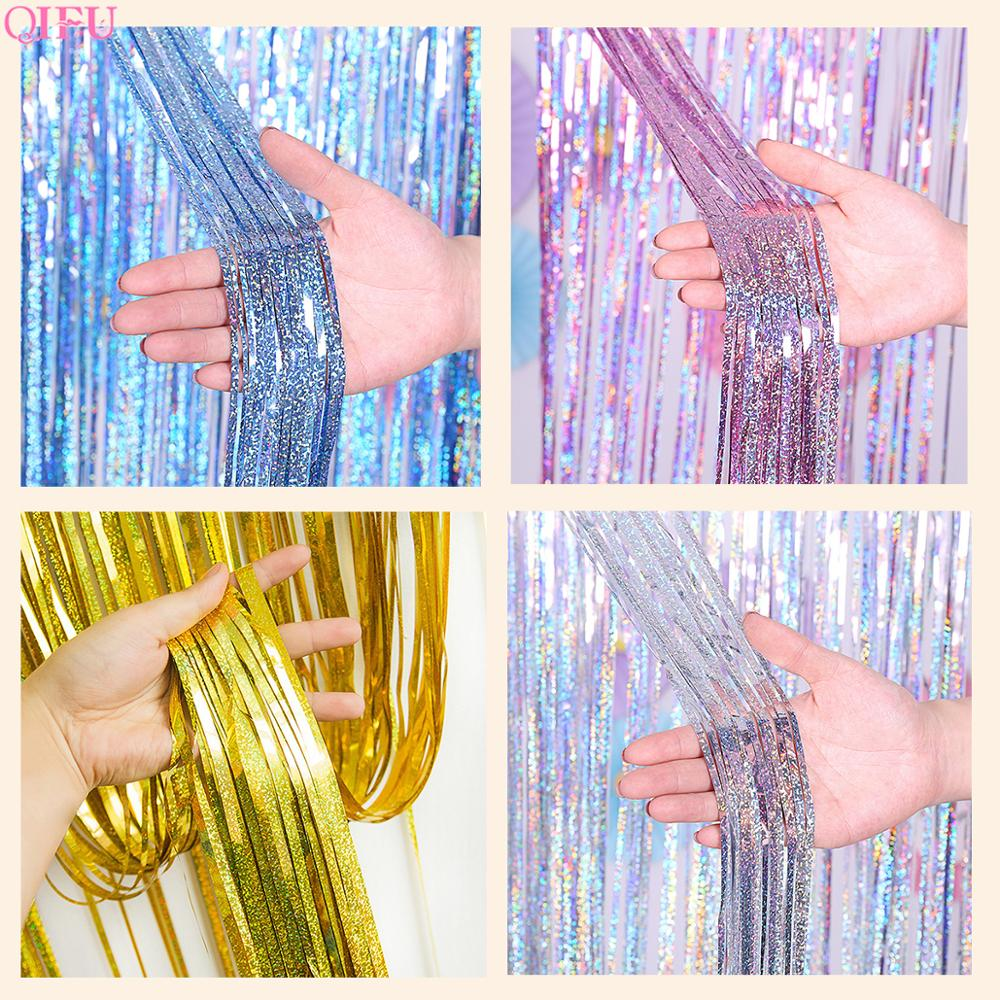 Laser Curtains Glitter Tinsel Fringe Foil Curtain Party Backdrop Decoration Wedding Tent Decor Birthday