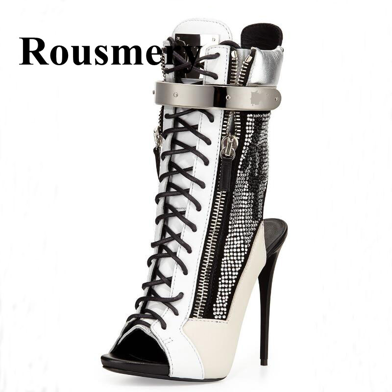 2018 Hottest Sexy Thin High Heel Peep Toe Cross-Tied Peep Toe Mixed Color Crystal Spring And Autumn Shoes Fashion Women Sandals peep ilmet ykskõikvus