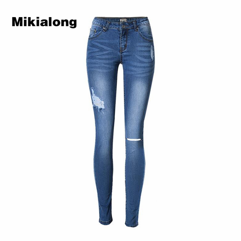 2017 Ripped Jeans for Women Low Waist Slim Pencil Stretch Jeans Femme Blue Casual Cotton Denim Jeans Pants Women rosicil new women jeans low waist stretch ankle length slim pencil pants fashion female jeans plus size jeans femme 2017 tsl049